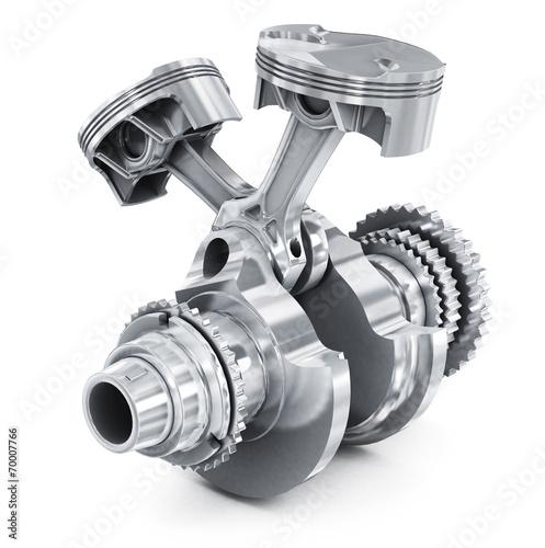 Fotografía  Engine pistons and cog. 3D image.