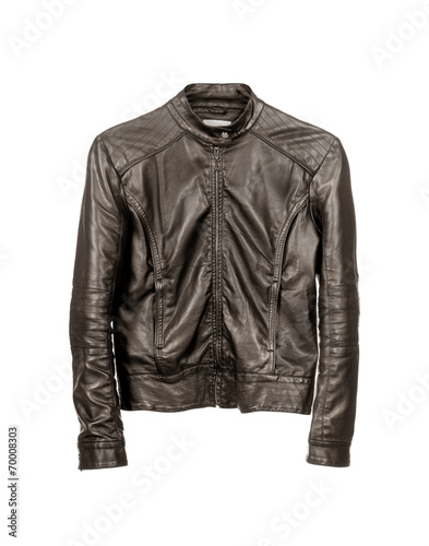 dark leather jacket isolated on white background Wall mural