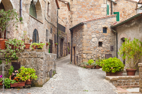 Old streets in the town of Sorano, Italy
