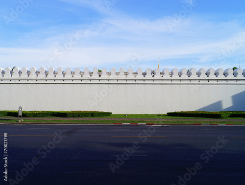 Spoed Foto op Canvas Stadion Wall of Temple of the Emerald Buddha or Wat Phra Kaew in Bangko