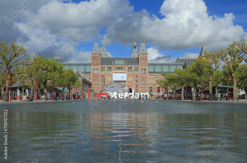 Photo  Pond and State museum. Amsterdam, Netherlands