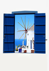 Fototapeta Open traditional Greek blue window on Santorini island, Greece