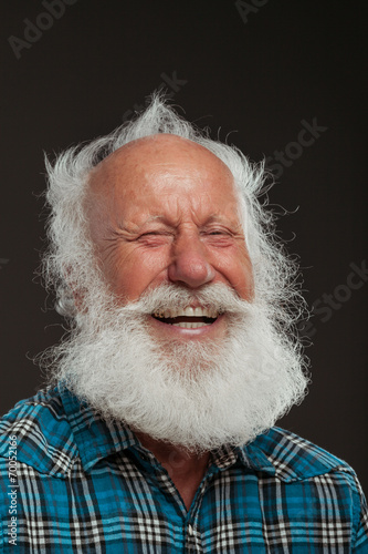 Fotografie, Obraz  old man with a long beard with big smile