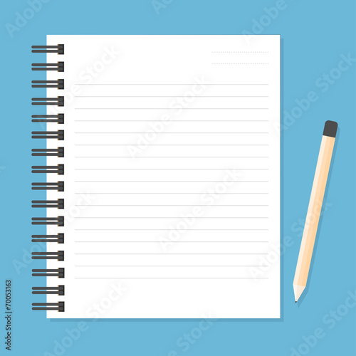 Fotografie, Tablou  White notebook with lines can shred and pencil. vector illustrat