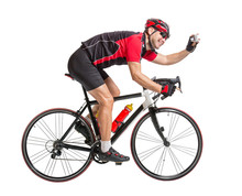 Cheerful Cyclist Photographing Himself On A Bike