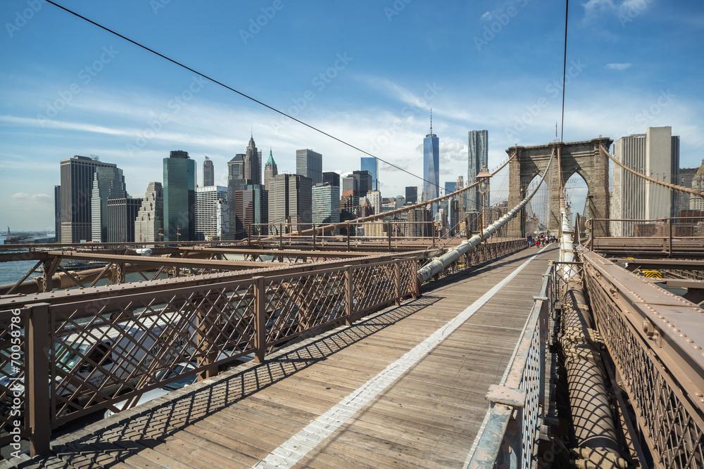 Fototapety, obrazy: New York City Brooklyn Bridge and Manhattan buildings