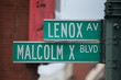 Malcolm X blvd street sign in Harlem New York City