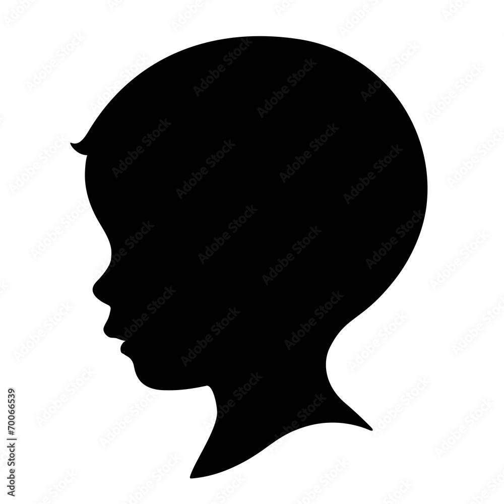 Fototapeta kid, boy head silhouette