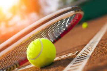 Fototapeta tennis ball on a tennis court