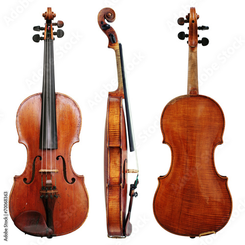 Fototapeta Old Violin isolated on a white background in projections