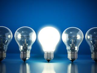 One lit bulb among unlit ones