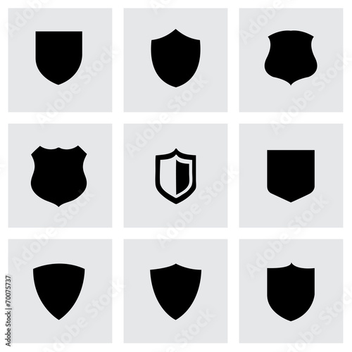 Fotografie, Obraz  Vector black shield icons set