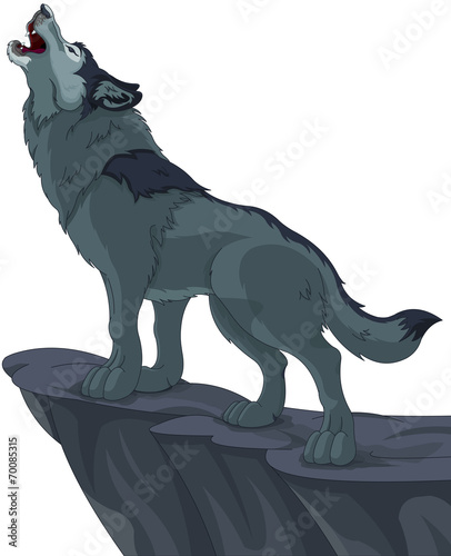Printed kitchen splashbacks Fairytale World Howling wolf