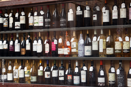 Canvas Prints Bar Showcase of alcohol store in Logrono. Spain