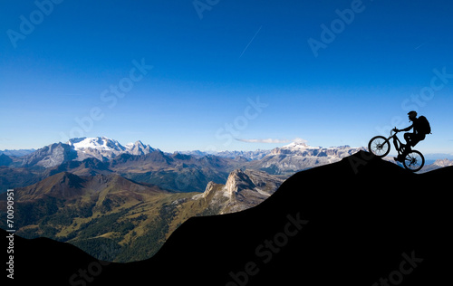 Mountainbiker in den Alpen Canvas Print