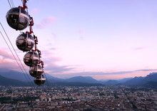 Grenoble Cablecars In The Dusk
