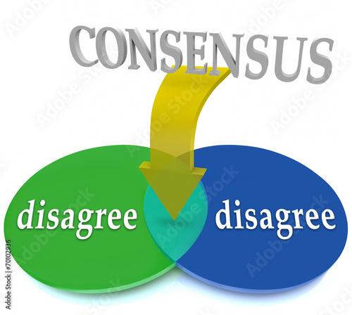 Consensus Venn Diagram Two Opposing Views Disagree Agreement Buy