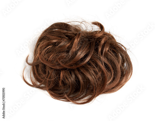 Foto Brown short wig isolated on white background