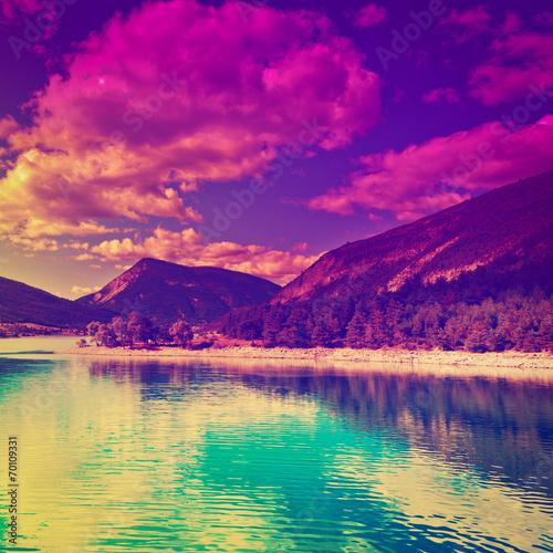 Fotobehang Violet Sunset