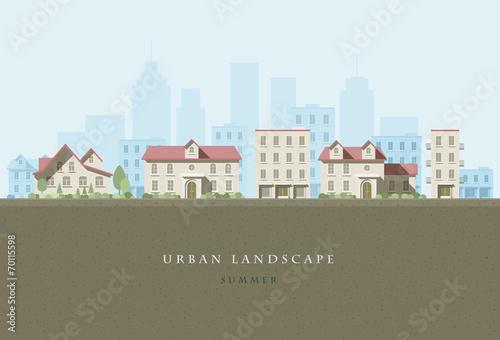 Deurstickers Khaki Urban Landscape