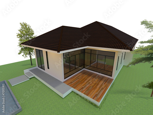 The modern home design. 3D image.