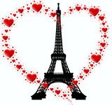 Fototapeta Paryż - wierza i serce z serc
