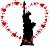 Fototapeta Nowy Jork - statuła wolności i serce z serc