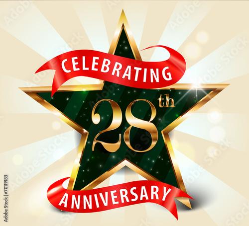 Fotografia  28 year anniversary celebration golden star ribbon