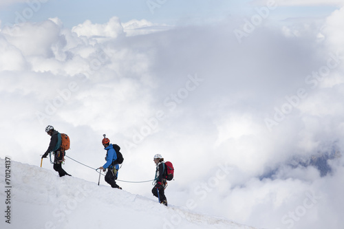 alpinisti in cordata sul Monte Bianco Canvas Print