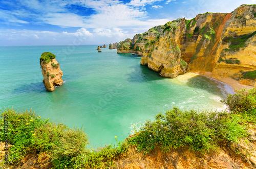 Fotografie, Obraz  Idyllic beach landscape at Lagos, Algarve, (Portugal)