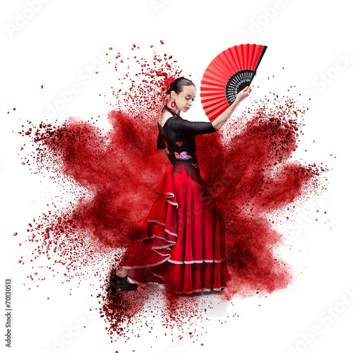 Photo sur Toile Carnaval young woman dancing flamenco against explosion