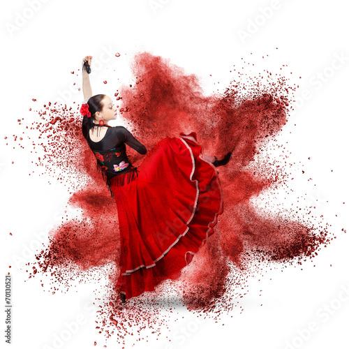 Fototapeta  Mladá žena tančí flamenco proti výbuchu