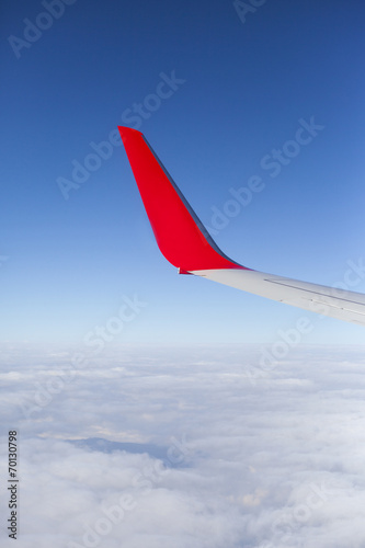 Poster Afrique du Sud Wing of the plane and clouds view from window
