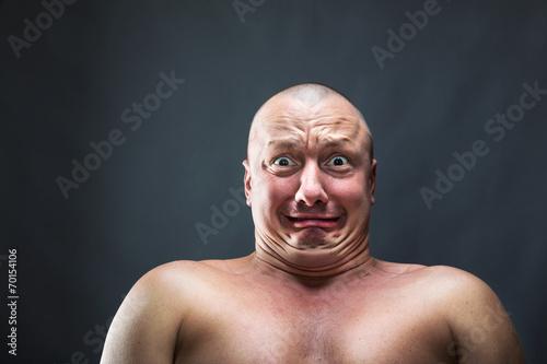 Fotografie, Tablou  Portrait of bald scared man