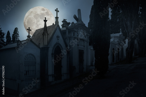 Foto op Canvas Begraafplaats Full moon night cemetery