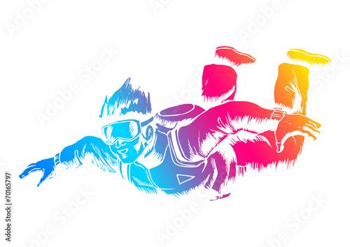 Fotografie, Obraz  Sketch illustration of a sky diver