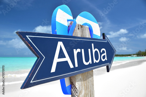 Aruba arrow on the beach Wallpaper Mural