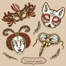 Carnival Mask Composition Set