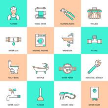 Plumbing Icons Flat Line Set