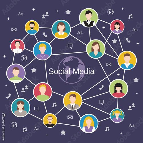 Fototapety, obrazy: Social network concept
