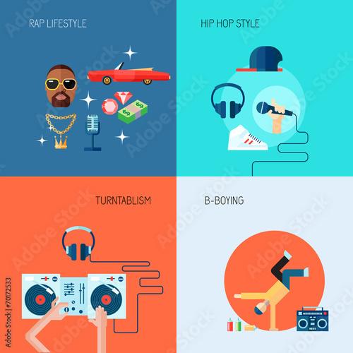 Photo  Rap music icons set flat