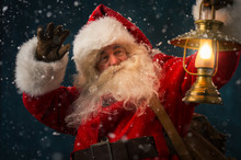 Santa Claus Holding Sack With Gifts