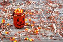 Scary Halloween Pumpkin Jar Fi...