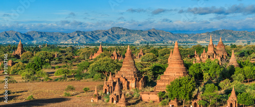 Photo Pagoda view in Bagan where has a few thousand of pagoda, Myanmar