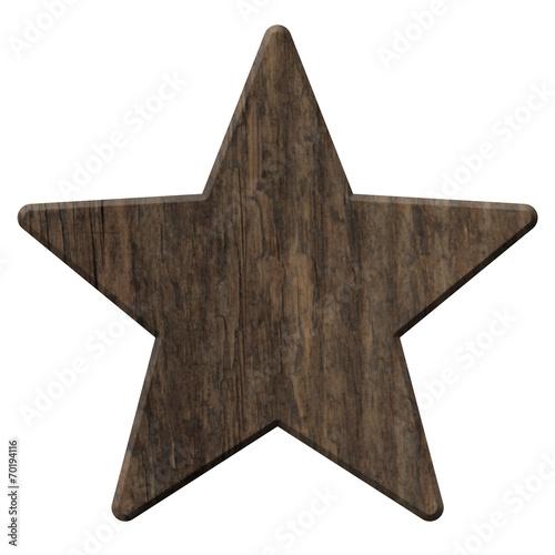 Cuadros en Lienzo Holzstern aus rustikalem, dunklen Holz  – freigestellt