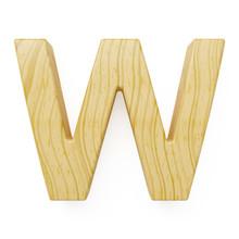 Wooden Alphabet Letter Symbol - W