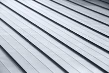 Diagonal Corrugated Metal Gray Rooftop Surface