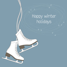 Winter Holidays Card With Ice ...