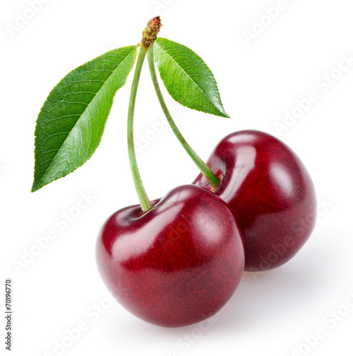Fotografie, Tablou Cherry with leaves isolated on white background
