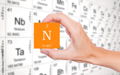 Nitrogen Symbol Handheld In Front Of The Periodic Table Buy This